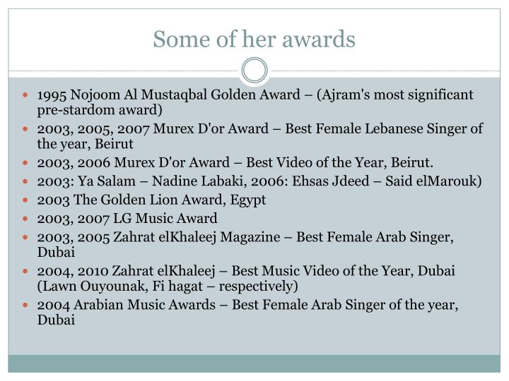 Some of her awards