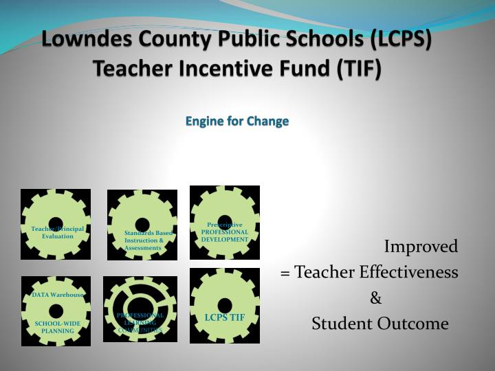 Lowndes county public schools lcps teacher incentive fund tif engine for change