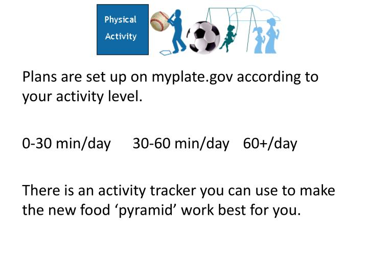 Plans are set up on myplate.gov according to your activity level.