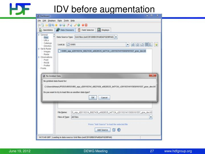 IDV before augmentation