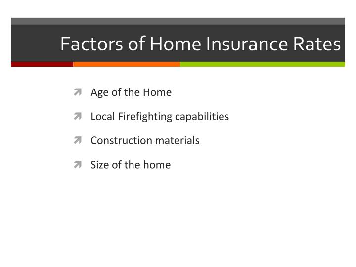 Factors of Home Insurance Rates