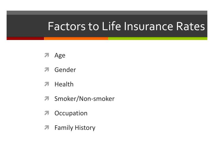 Factors to Life Insurance Rates