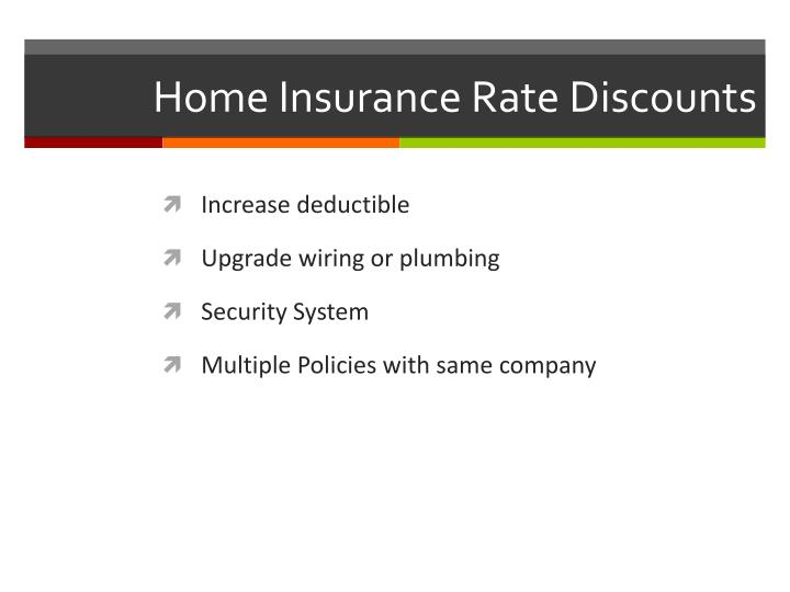 Home Insurance Rate Discounts