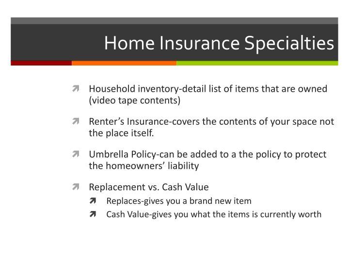 Home Insurance Specialties