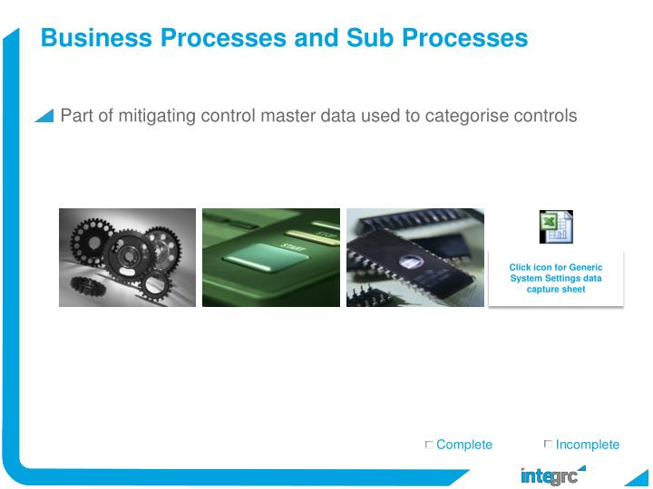 Business Processes and Sub Processes
