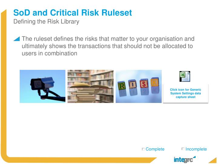 SoD and Critical Risk Ruleset