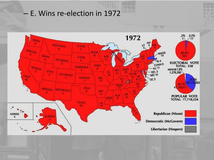 E. Wins re-election in 1972