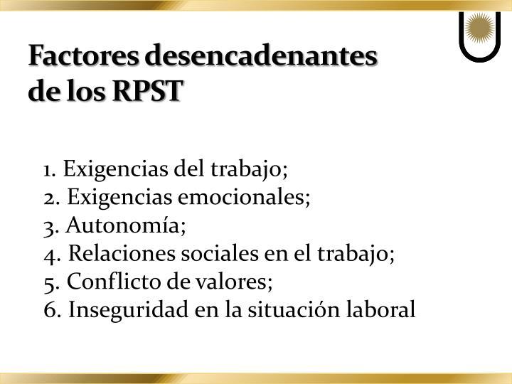 Factores desencadenantes de los RPST