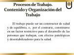procesos de trabajo contenido y organizaci n del trabajo