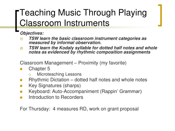 Teaching music through playing classroom instruments