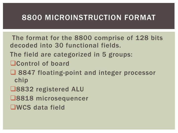 8800 Microinstruction format