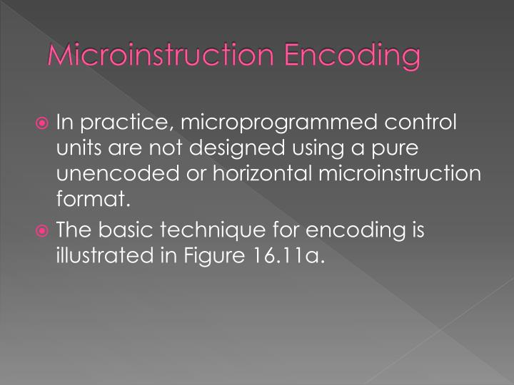 Microinstruction Encoding