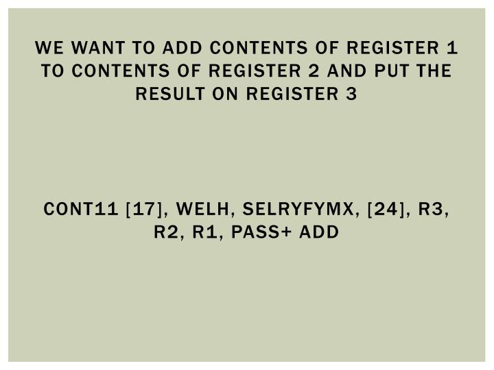 We want to add contents of register 1 to contents of register 2 and put the result on register 3