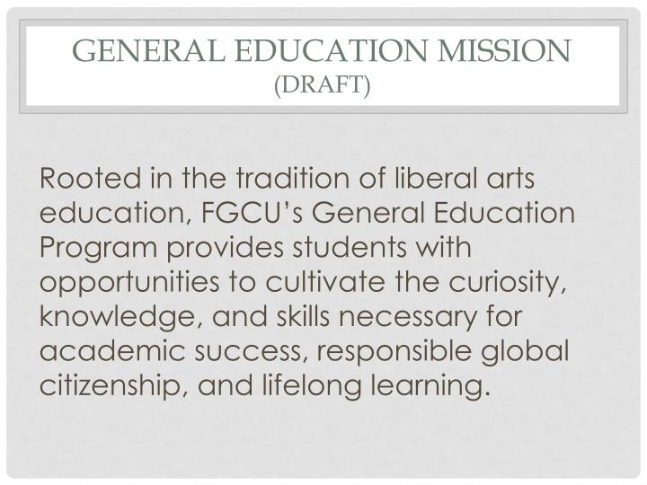 General education mission draft