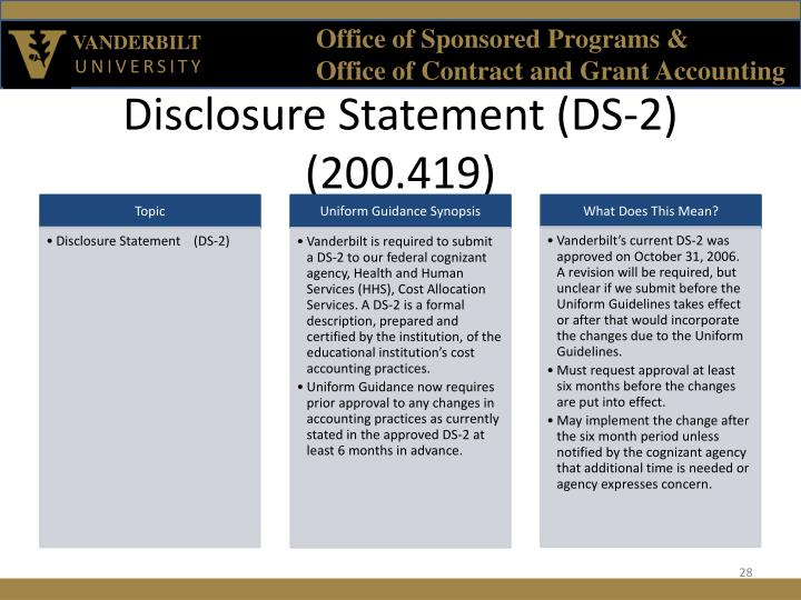 Disclosure Statement (DS-2) (200.419)