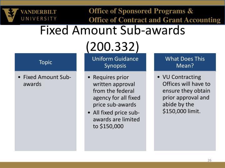 Fixed Amount Sub-awards (200.332)