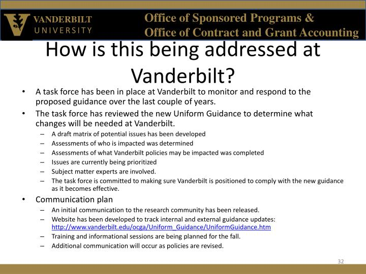 How is this being addressed at Vanderbilt?