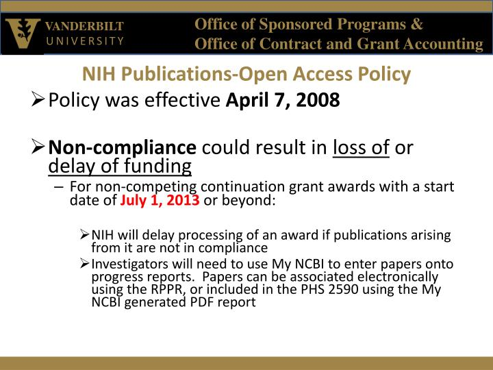 NIH Publications-Open Access Policy