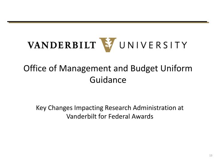 Office of Management and Budget Uniform Guidance