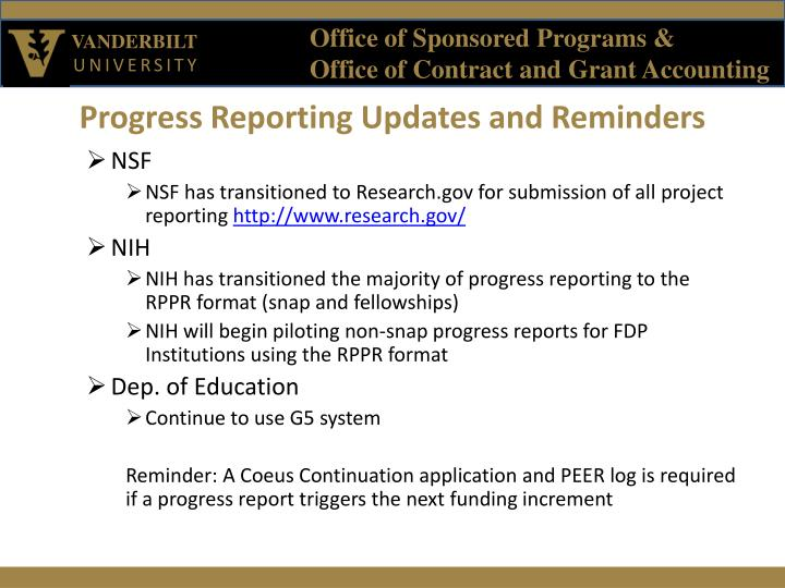 Progress Reporting Updates and Reminders