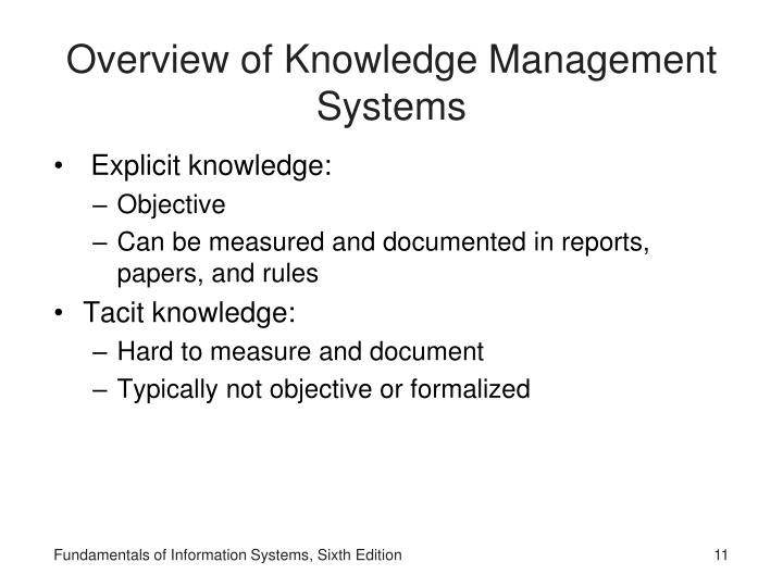 Overview of Knowledge Management Systems
