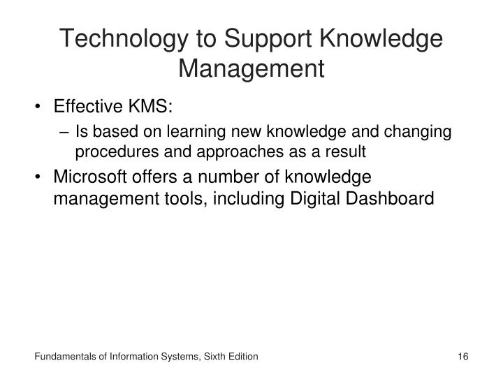 Technology to Support Knowledge Management