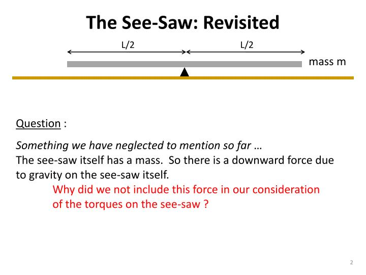 The see saw revisited