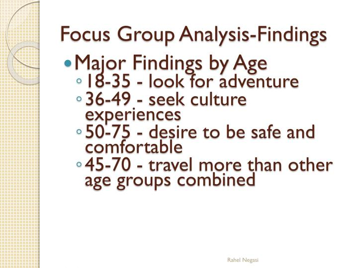 Major Findings by Age