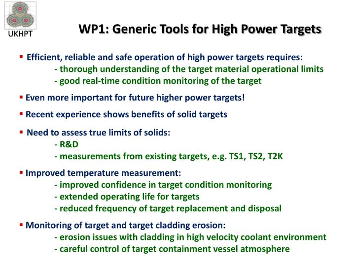 WP1: Generic Tools for High Power Targets