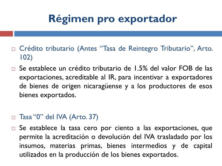 Régimen pro exportador