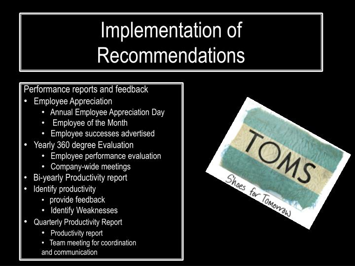 Implementation of Recommendations
