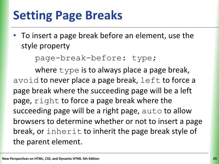 Setting Page Breaks