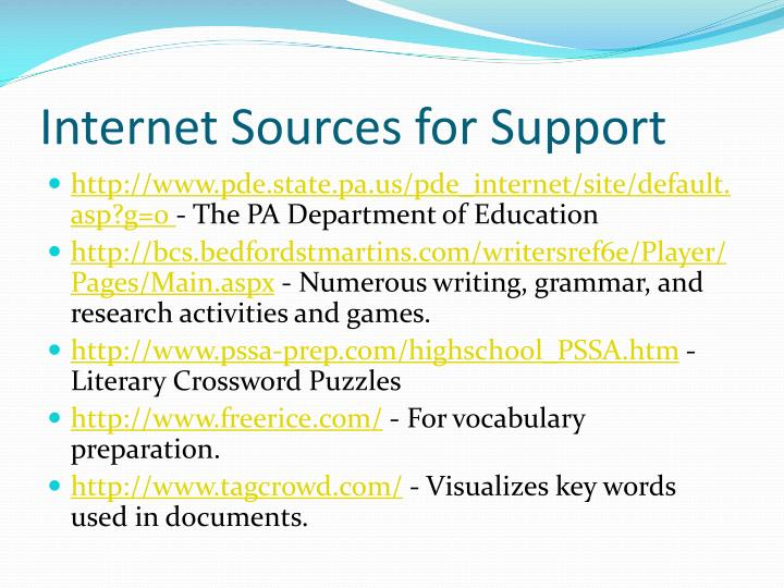 Internet Sources for Support