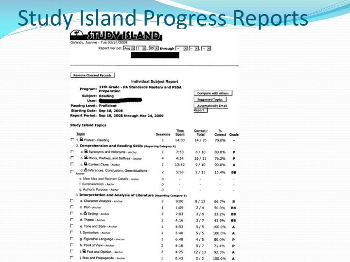 Study Island Progress Reports
