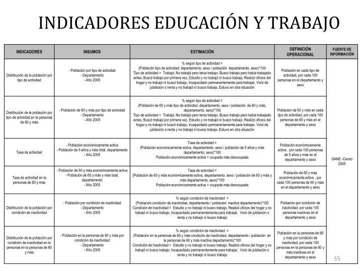 INDICADORES EDUCACIÓN Y TRABAJO