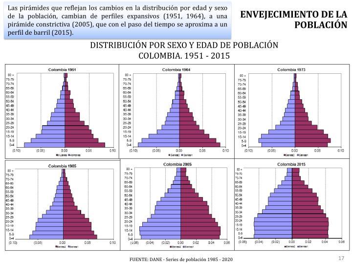 Las pirámides que reflejan los cambios en la distribución por edad y sexo de la población, cambian de perfiles expansivos (1951, 1964), a una pirámide constrictiva (2005),