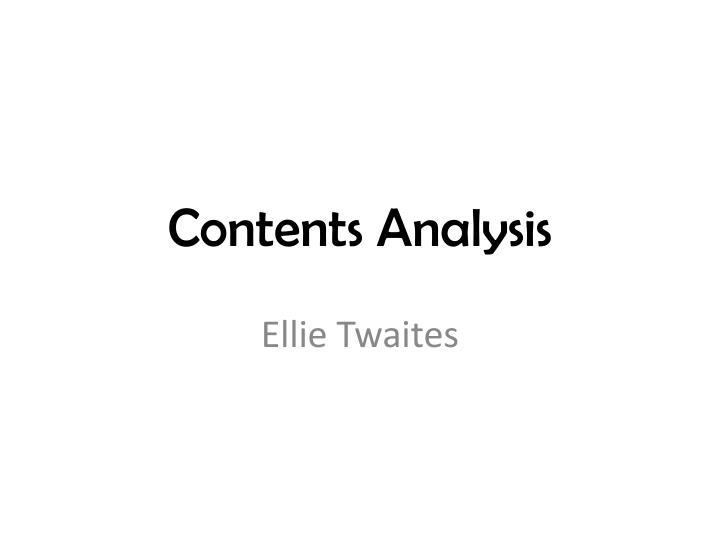 Contents analysis
