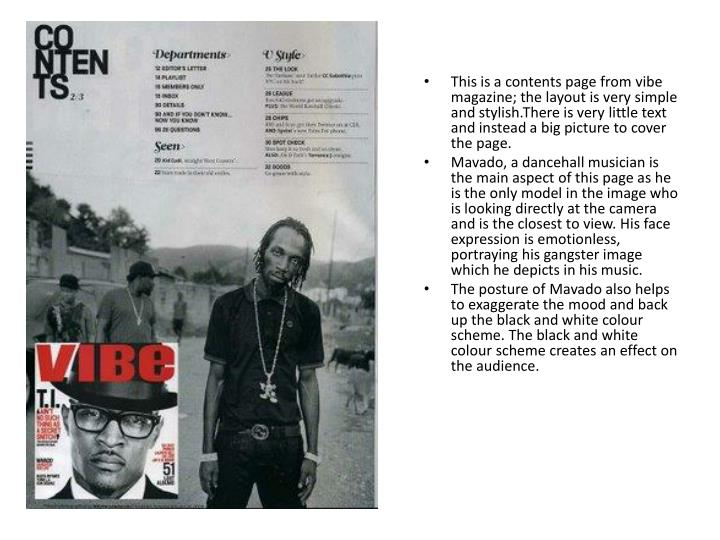 This is a contents page from vibe magazine; the layout is very simple and