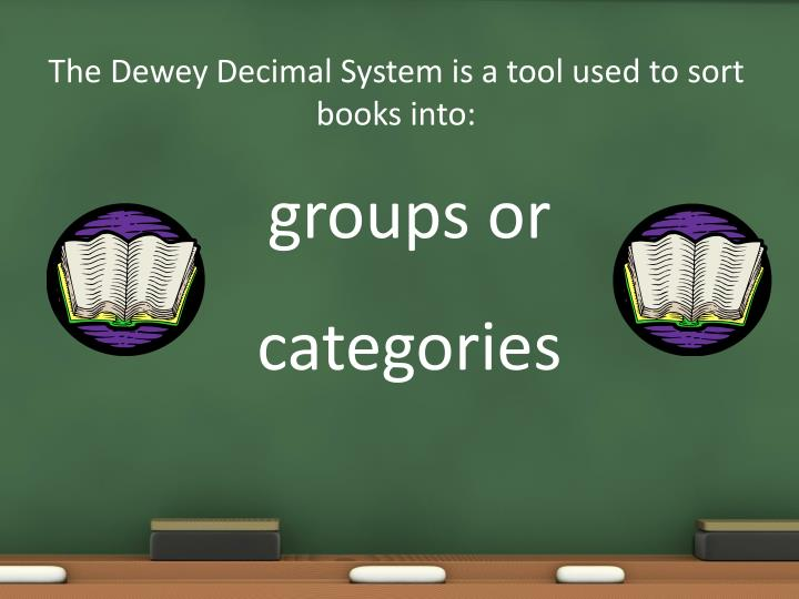 The Dewey Decimal System is a tool used to sort books