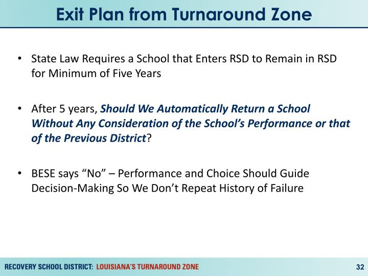 Exit Plan from Turnaround Zone