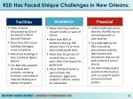 rsd has faced unique challenges in new orleans