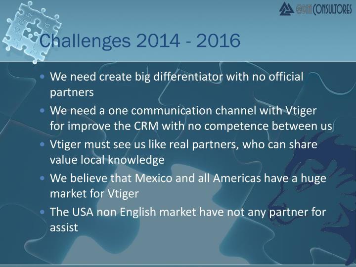 Challenges 2014 - 2016