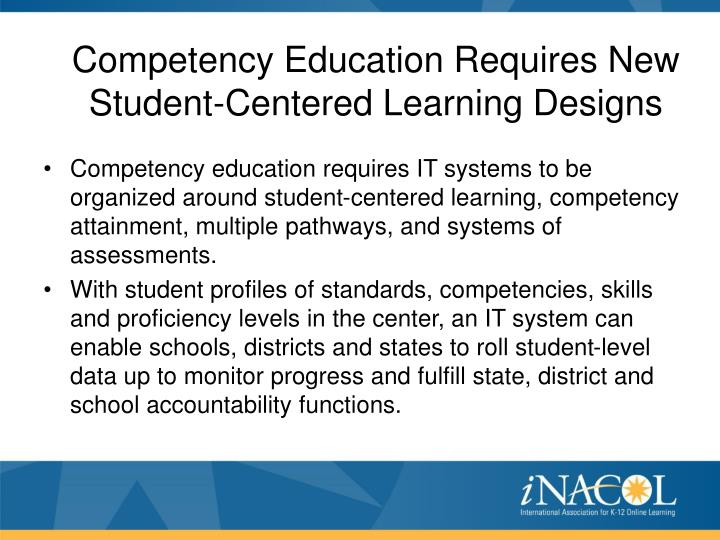Competency Education Requires New Student-Centered Learning Designs