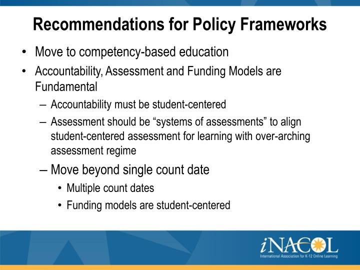 Recommendations for Policy Frameworks