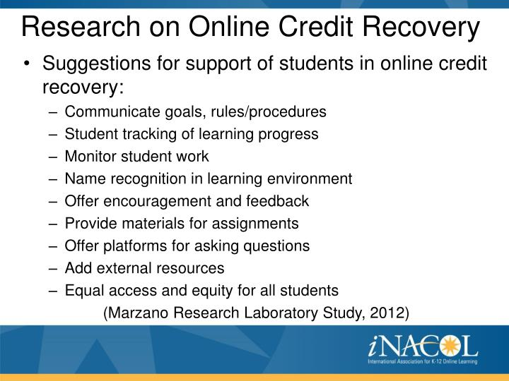 Research on Online Credit Recovery