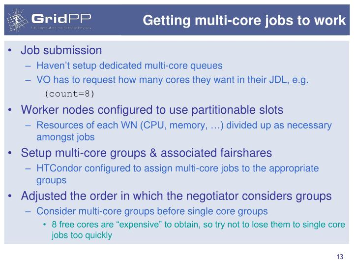 Getting multi-core jobs to work