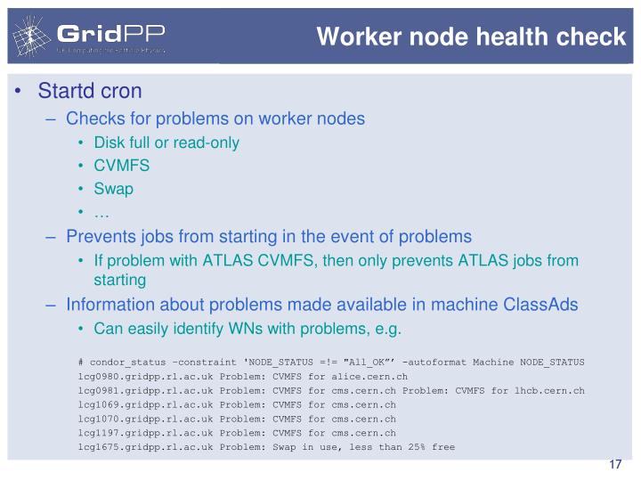 Worker node health check
