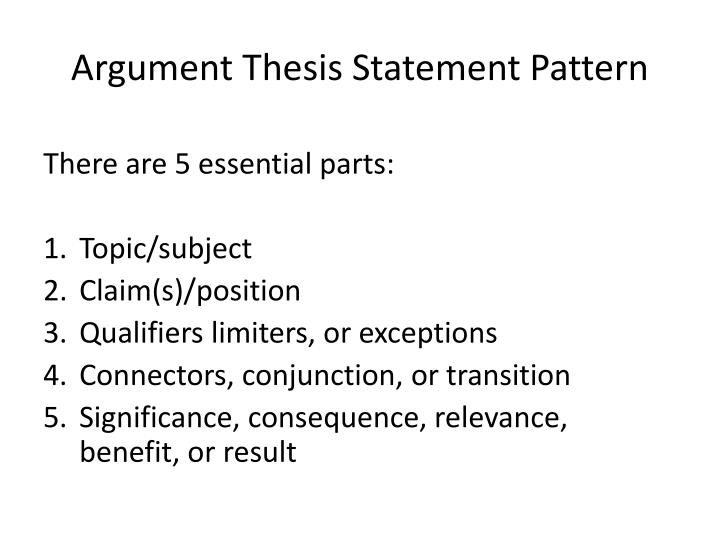 Argument thesis statement pattern