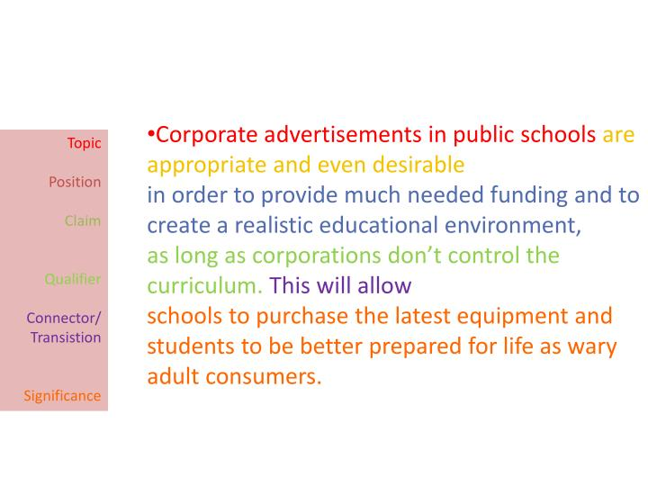 Corporate advertisements in public schools