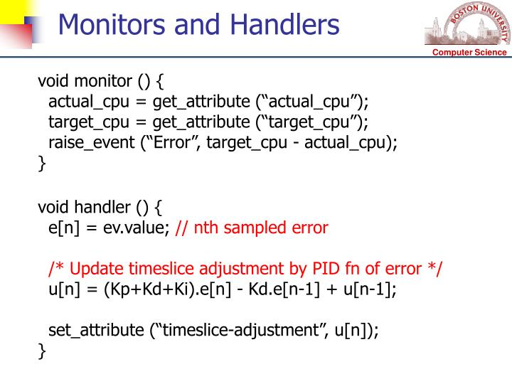 Monitors and Handlers